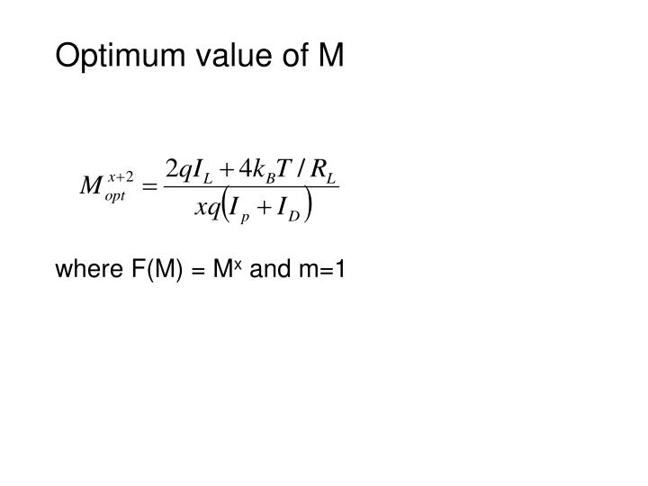Optimum value of M