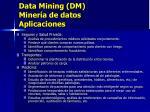 data mining dm miner a de datos aplicaciones1