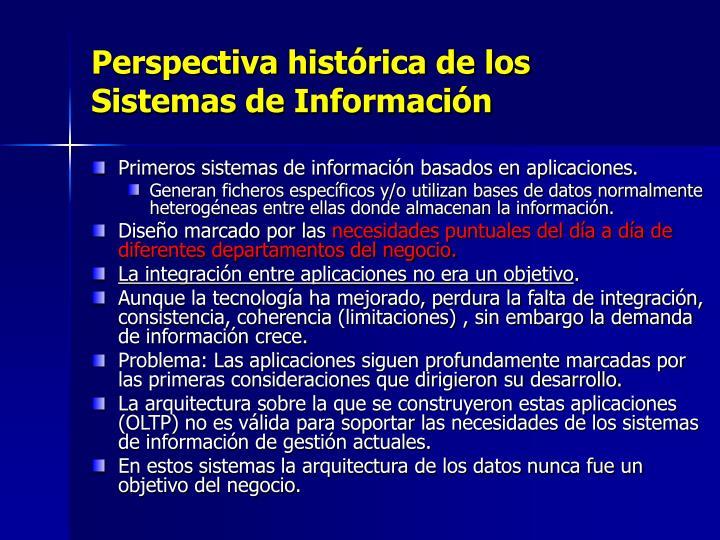 Perspectiva histórica de los Sistemas de Información
