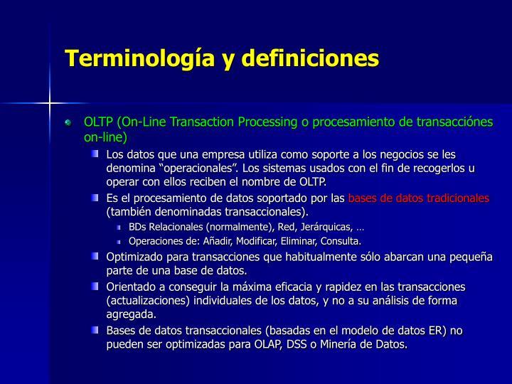 Terminología y definiciones
