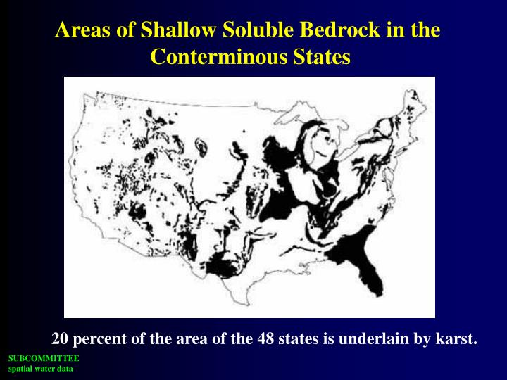 Areas of Shallow Soluble Bedrock in the