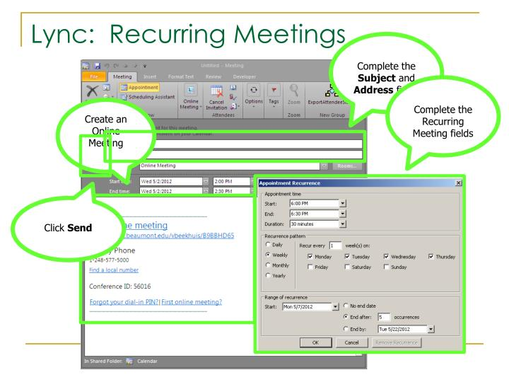 Complete the Recurring Meeting fields