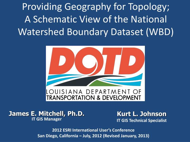 providing geography for topology a schematic view of the national watershed boundary dataset wbd