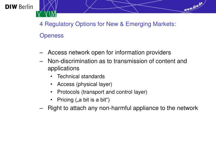 4 Regulatory Options for New & Emerging Markets: