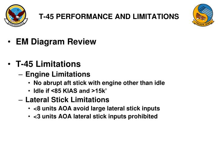 T-45 PERFORMANCE AND LIMITATIONS