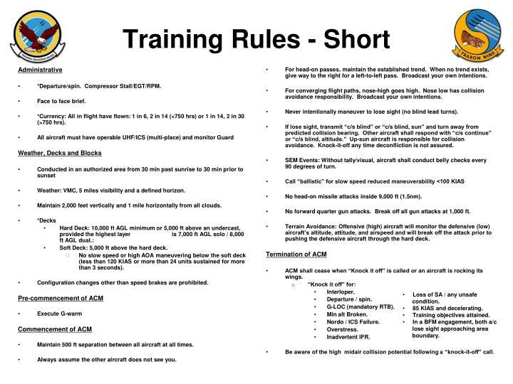 Training Rules - Short