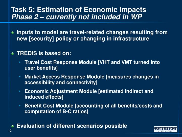 Task 5: Estimation of Economic Impacts
