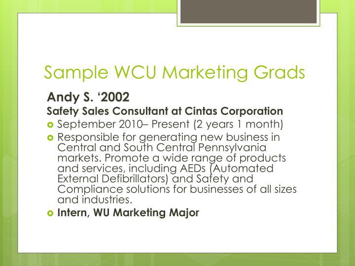 Sample WCU Marketing Grads