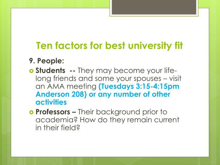 Ten factors for best university fit