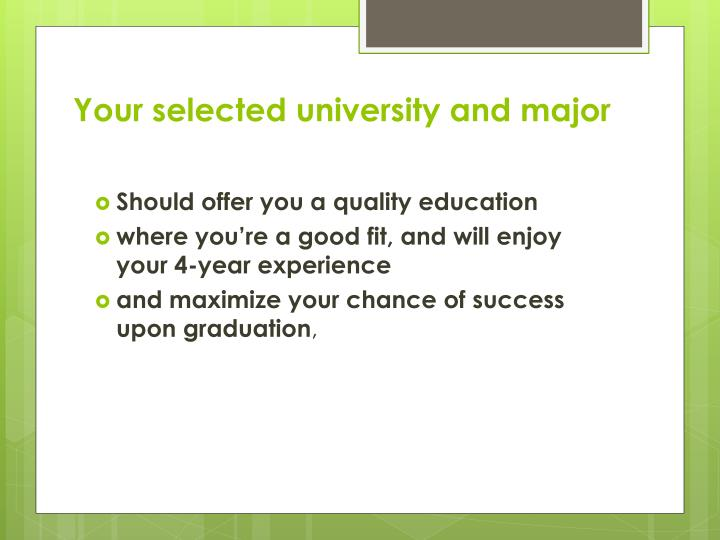 Your selected university and major