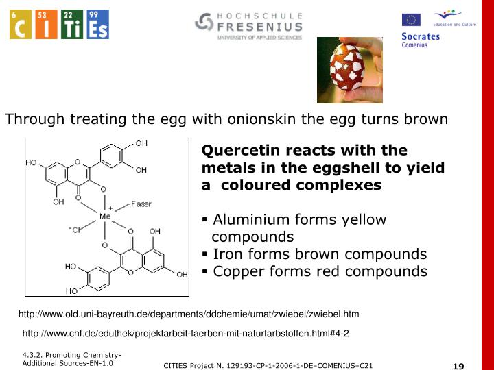Through treating the egg with onionskin the egg turns brown