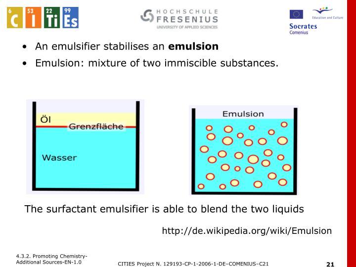 An emulsifier stabilises an