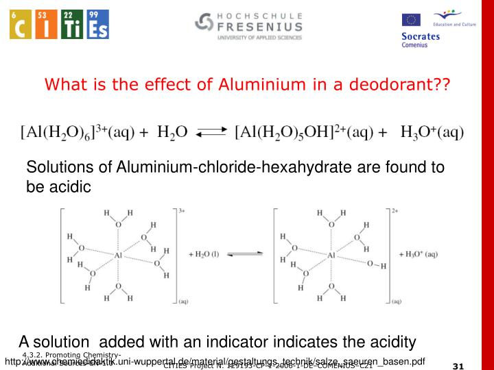 What is the effect of Aluminium in a deodorant??