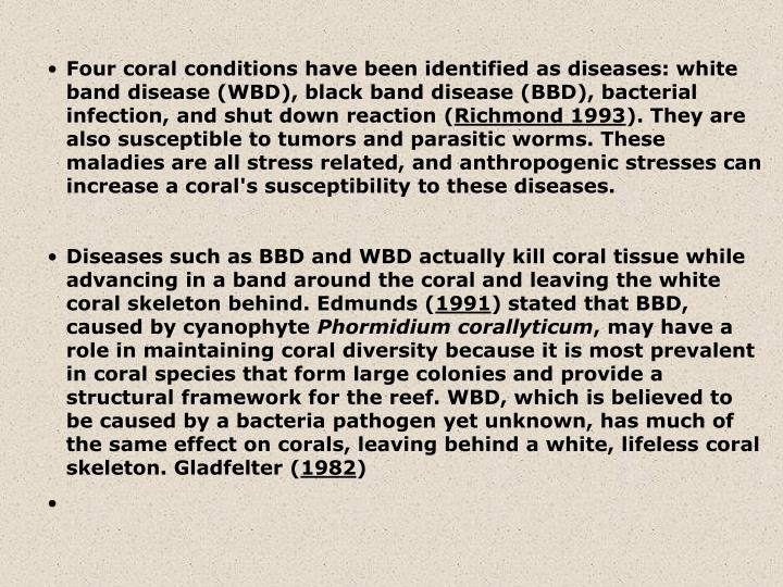 Four coral conditions have been identified as diseases: white band disease (WBD), black band disease (BBD), bacterial infection, and shut down reaction (