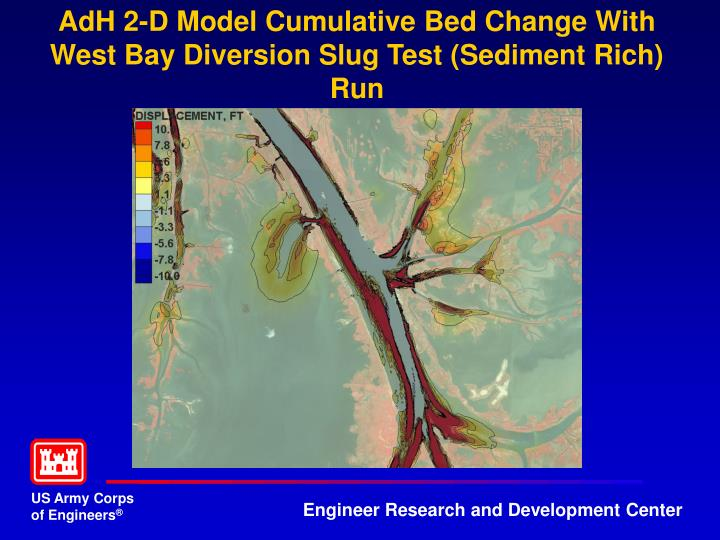 AdH 2-D Model Cumulative Bed Change With West Bay Diversion Slug Test (Sediment Rich) Run