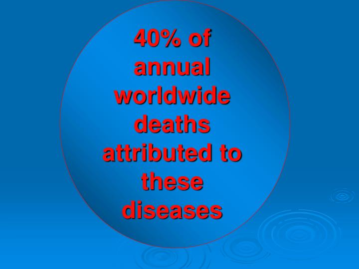 40% of annual worldwide deaths attributed to these diseases