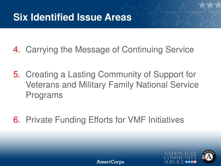 Six Identified Issue Areas