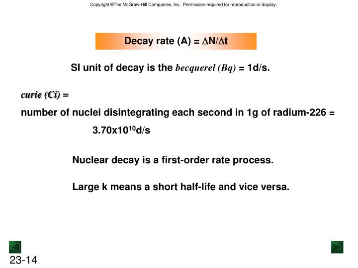 Decay rate (A) =