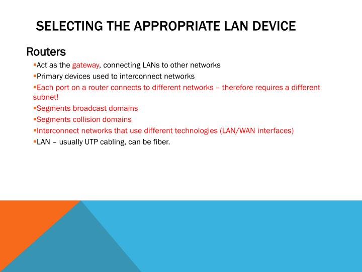 Selecting the appropriate LAN device