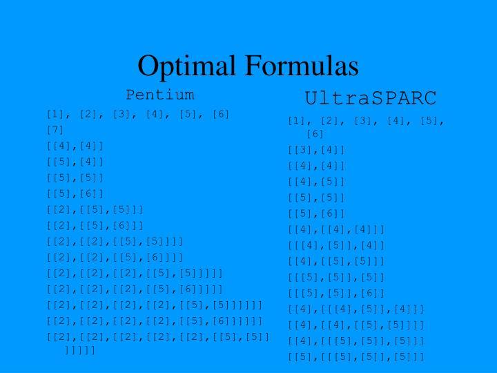 Optimal Formulas