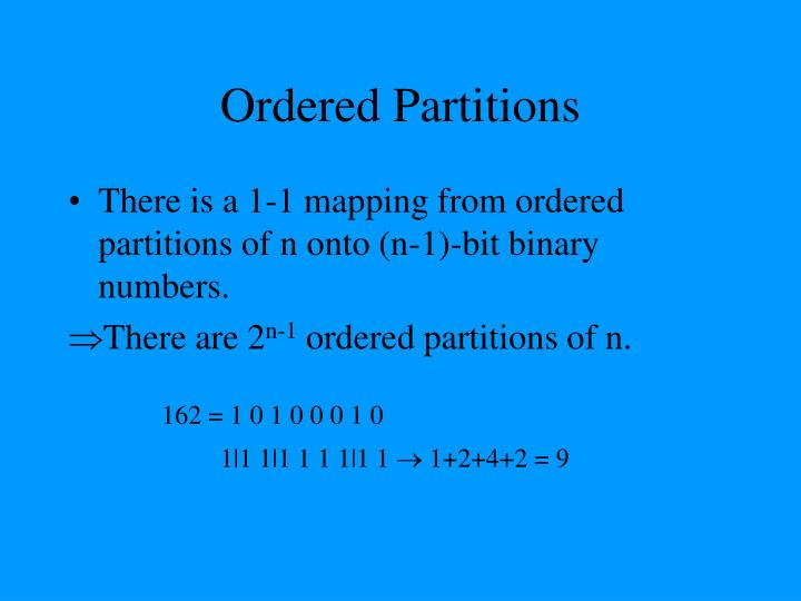 Ordered Partitions