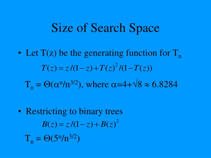 Size of Search Space