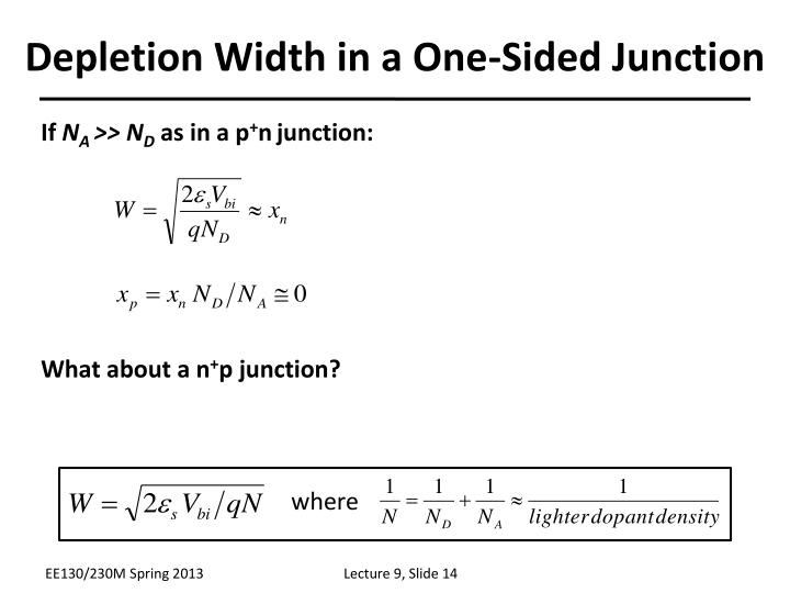 Depletion Width in a One-Sided Junction