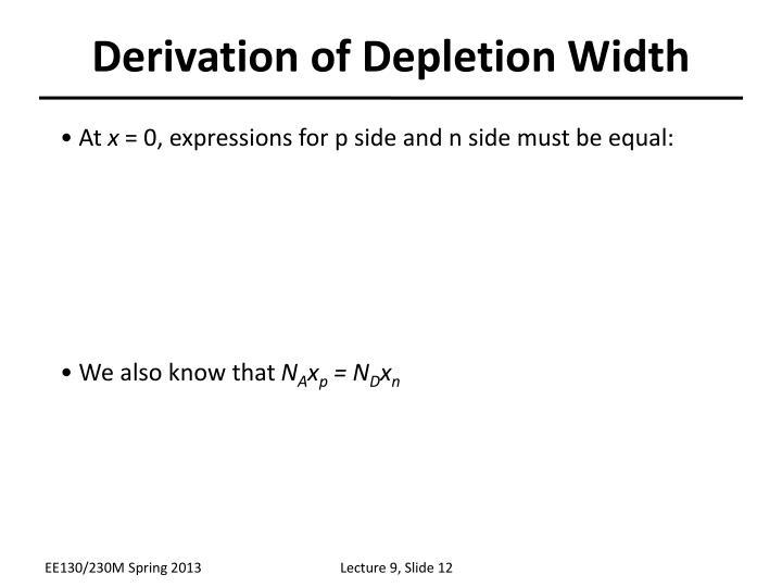 Derivation of Depletion Width
