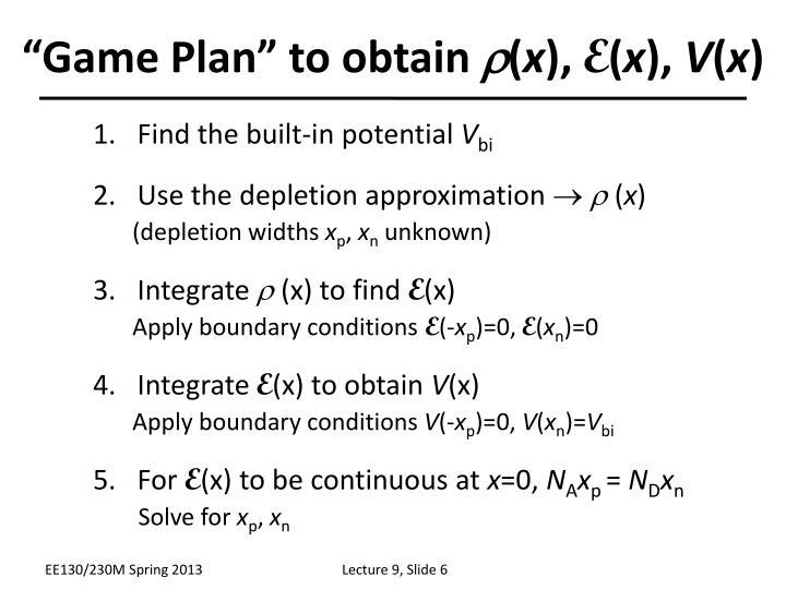 """""""Game Plan"""" to obtain"""