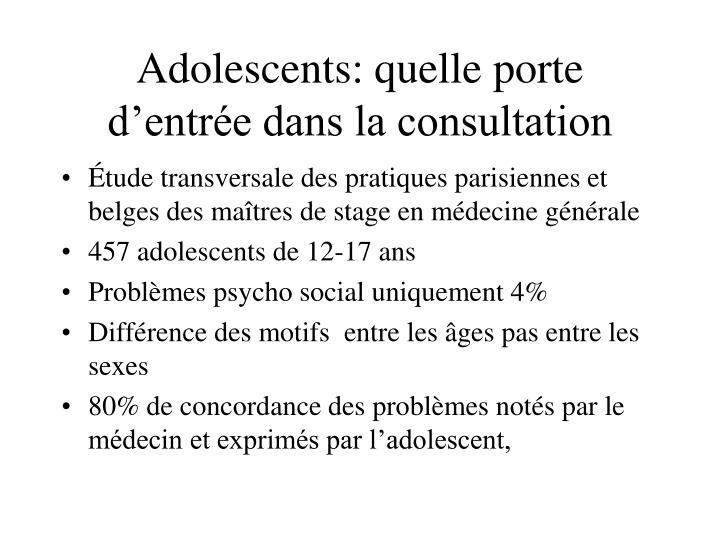 Adolescents: quelle porte d'entrée dans la consultation