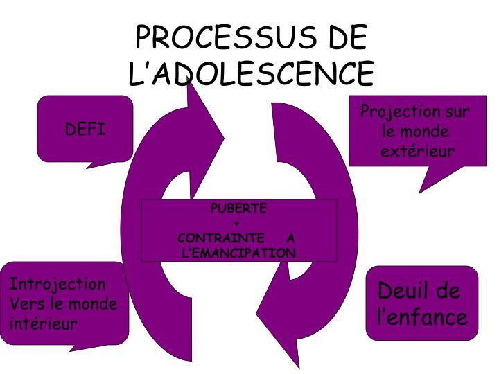 PROCESSUS DE L'ADOLESCENCE