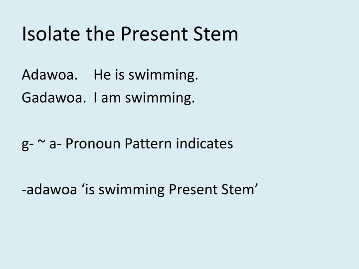Isolate the Present Stem