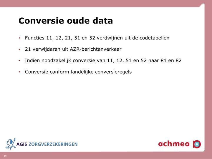 Conversie oude data