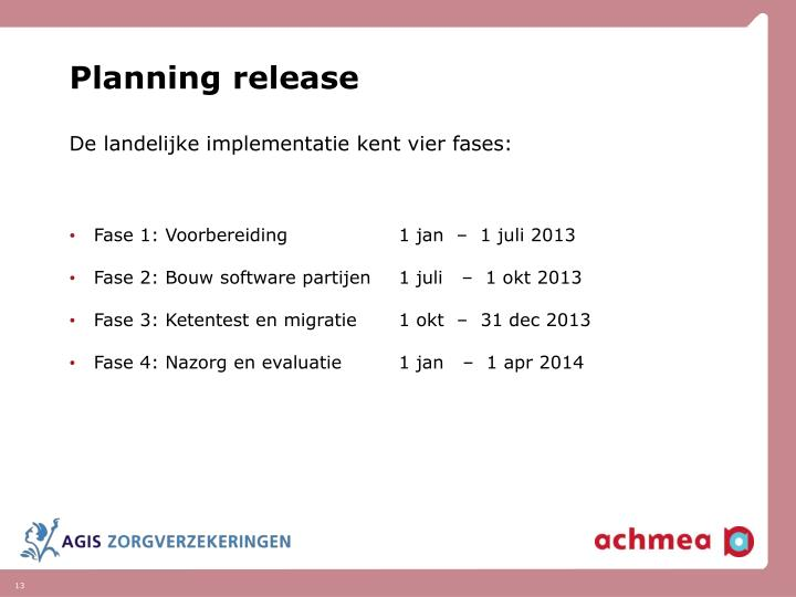 Planning release