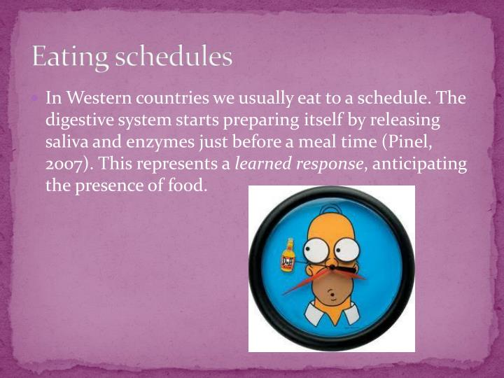 Eating schedules