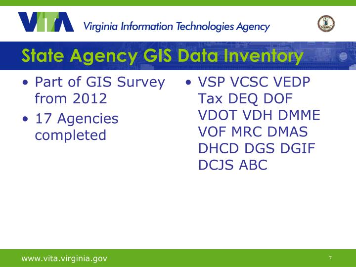 State Agency GIS Data Inventory