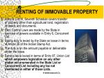 renting of immovable property1