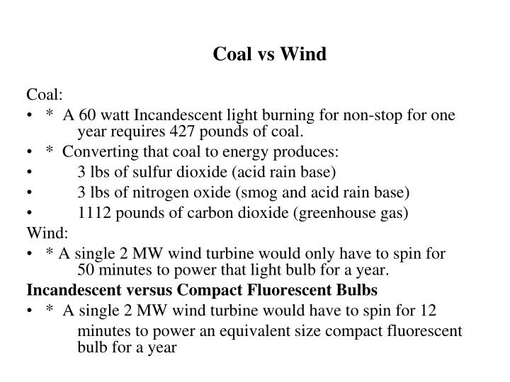 Coal vs Wind