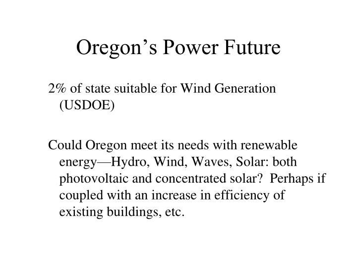 Oregon's Power Future
