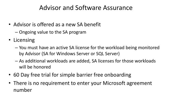 Advisor and Software Assurance