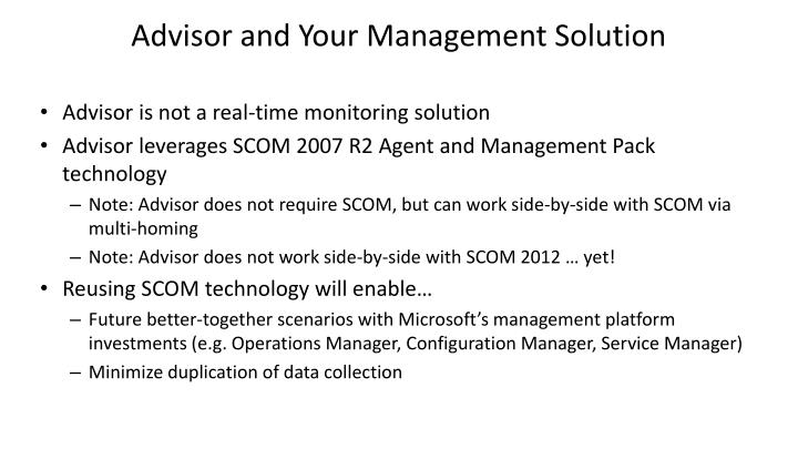 Advisor and Your Management Solution