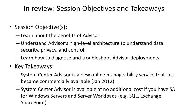 In review: Session