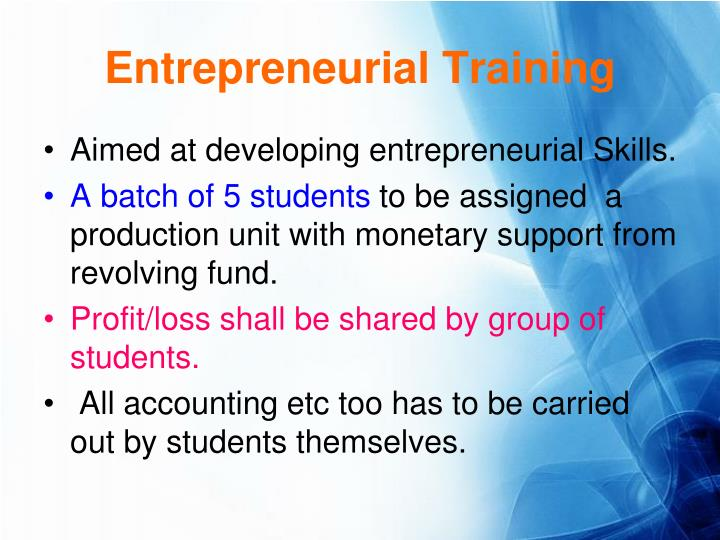 Entrepreneurial Training