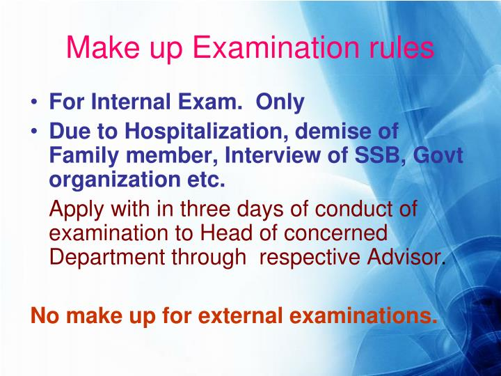 Make up Examination rules