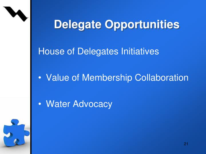 Delegate Opportunities