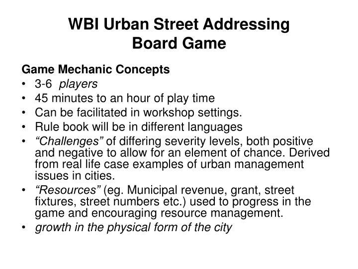 WBI Urban Street Addressing