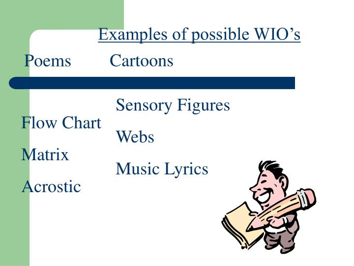 Examples of possible WIO's