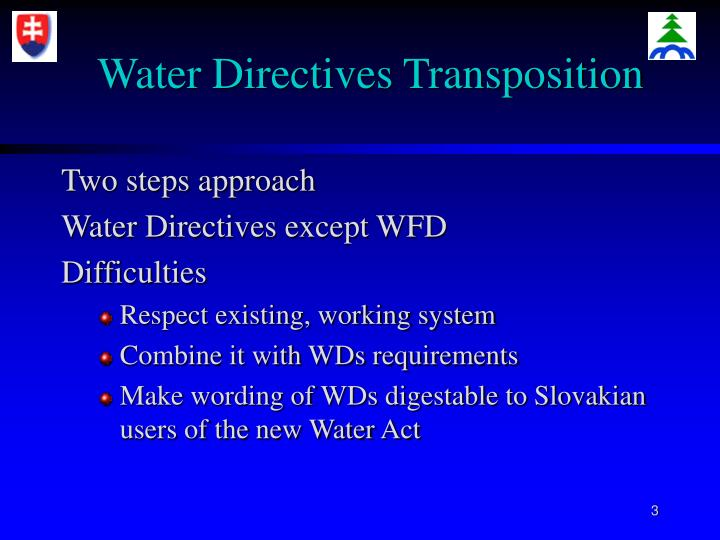 Water directives transposition