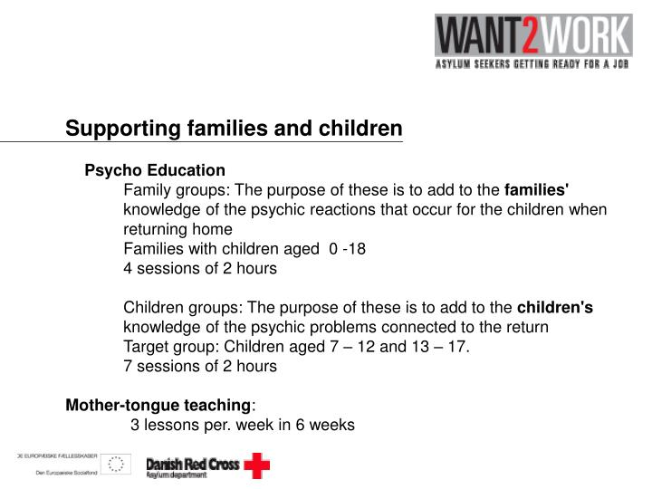 Supporting families and children