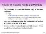 review of instance fields and methods